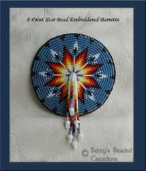 Bead Embroidered 8 Point Star Barrette