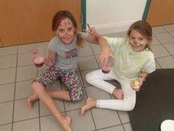 The girls enjoying Blueberry smoothies at Camp 2014!