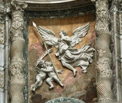 relief above Bernini, St. Longinus, 1629-38, St. Peters, commissioned by Urban VIII