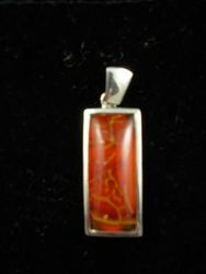 09-00104 Red Agate in Sterling Silver Pendant