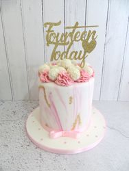 Pink and white marble Birthday Cake