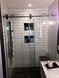 Subway tiles style shower cabin