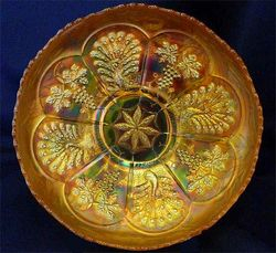 Peacock and Grape I/C shape bowl,marigold