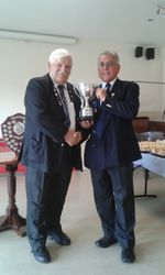 """Harvey Fruish presenting Div.Two Cup to Whyte Melville """"A"""""""