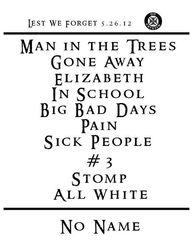Setlist from 2012-05-26 Turner Hall, Milwaukee, WI