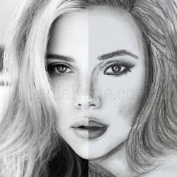 Scarlett Johansson Charcoal Sketch and Photo Comparison