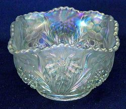 "Cosmos and Cane 4 3/4"" square bowl in white, U.S. Glass"
