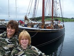 Mike and Brandon in front of the Bluenose in Lunenburg
