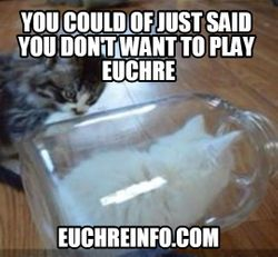 You could of just said you don't want to play Euchre.