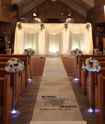 Scarlet Columns, Personalized Aisle Cloth