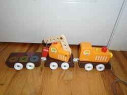 Janod Multi Color Crane Train with Blocks - $10