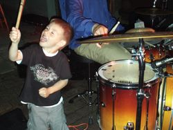 carter helping dad out on the drums