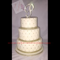 Gold and White Diamond Quilted Cake