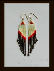 Traditional Style Beaded Earrings with Porcupine Quills