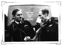 Two airmen enjoying a cuppa