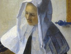 Vermeer, Woman with a Pitcher, detail, Met