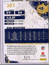 2010 Score Expo Sam Bradford Auto Rookie SP 1/1