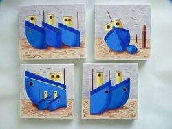 SOLD Blue boats set