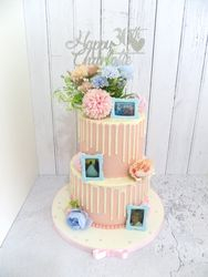 Pink and Blue Buttercream drip cake