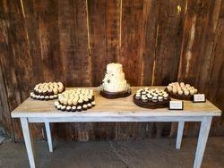 Wedding cake and mini cupcakes