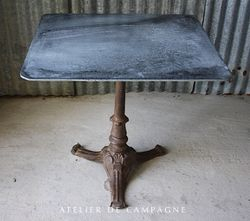 #26/058 FRENCH CAST IRON TABLE ZINC TOP