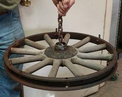 Old Car Wheel Chandelier