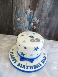 65th blue and silver birthday cake