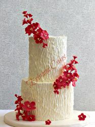 Tree Trunk cherry blossom flowers wedding cake 2