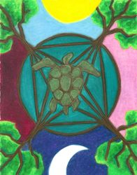 Sacred Oceans Sacred Earth Mandala, Oil Pastel, 11x14, Original Sold