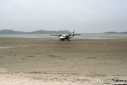 Who needs a runway when you've got low tide?