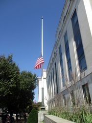 Flag at Southwest Corner of Exterior of Dirkson Senate Office Building at Half Staff to Honor Lying in Repose of Associate Supreme Court Justice Ruth Bader Ginsburg from South