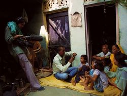 21 Director Suzie Samant filming in Garib Nagar slum, Agra