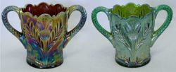 Inverted Thistle spooners, purple and green, Cambridge Glass