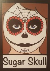Black, White and Red Sugar Skull Design