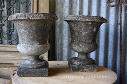 #27/083 PAIR OF FRENCH CONCRETE URNS