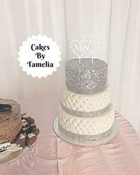 Siver and White Wedding Cake