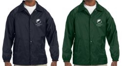 Lined Jackets, Navy or Green. Nylon Shell + Polyester Lining - Water Resistant - Elastic Cuffs - Snap Opening