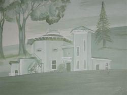 The observatory in Amherst in the mural