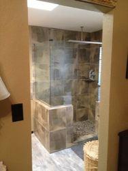 new walk in shower with rain fixture