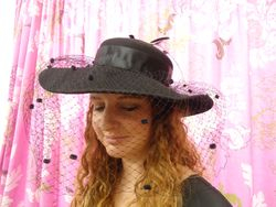 Vintage Classic Wide Brim Black Wool with Netting