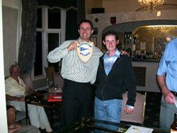 Chris Bland presenting our club shield to Frognel Hall proprietor Steven Marks.