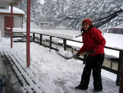 Karen Staufenbiel shovels