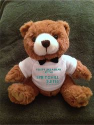 "Teddy Bears, Plush. - ""I SLEPT LIKE A BEAR AT THE SPRINGHILL SUITES"" - 9"" Tall.  Makes a special gift!"