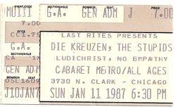 Cabaret Metro, Chicago, IL stub 1987-01-11