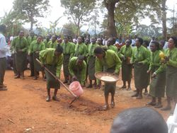 The Congregation Choir sing and act out their song of sowing and watering seeds