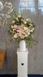 Church Flowers in Porcelain Vase on Pedestal