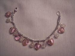 foil hearts and clear quartz charm bracelet