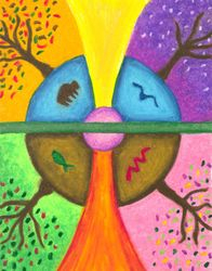 Friends In The Earth Mandala, Oil Pastel, 11x14, Original Sold