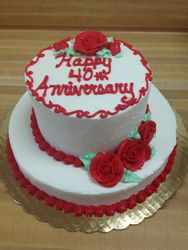 Anniversary Cake with Red Roses