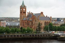 Guildhouse from peace bridge in Derry